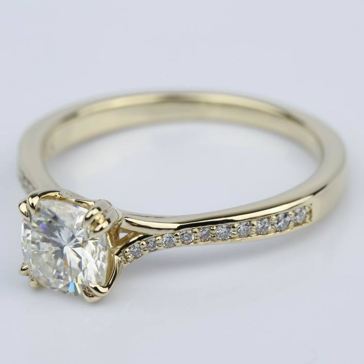 Cushion Moissanite Split Shank Diamond Engagement Ring angle 2
