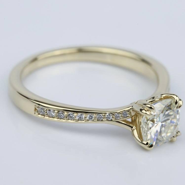 Cushion Moissanite Split Shank Diamond Engagement Ring angle 3