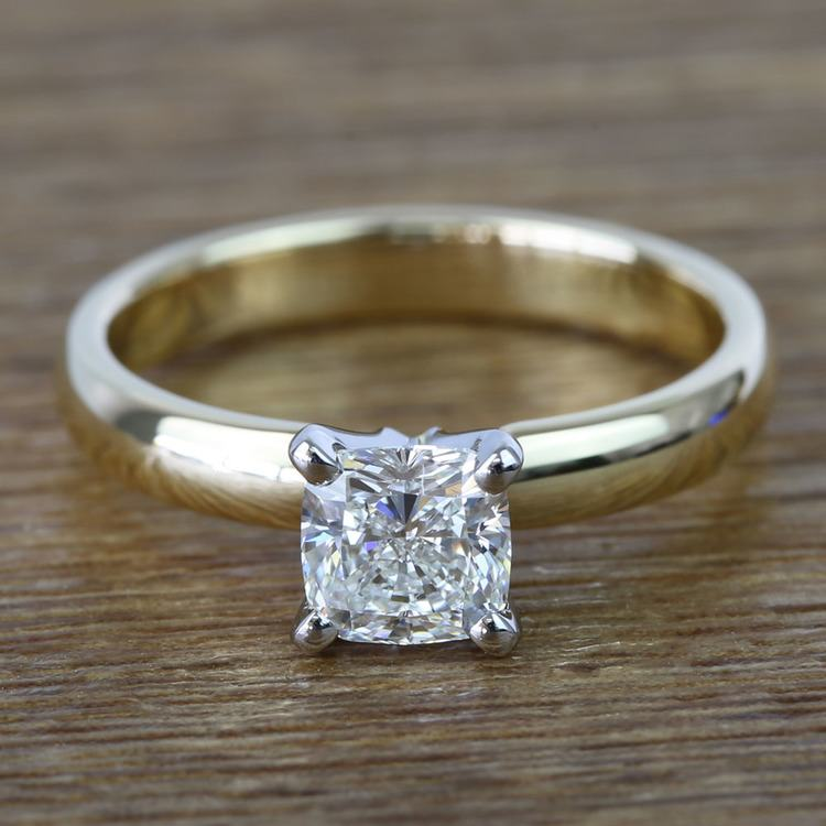 Flawless Cushion Solitaire Diamond Engagement Ring (1 Carat)