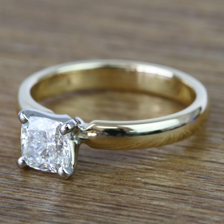 Flawless Cushion Solitaire Diamond Engagement Ring (1 Carat) angle 2