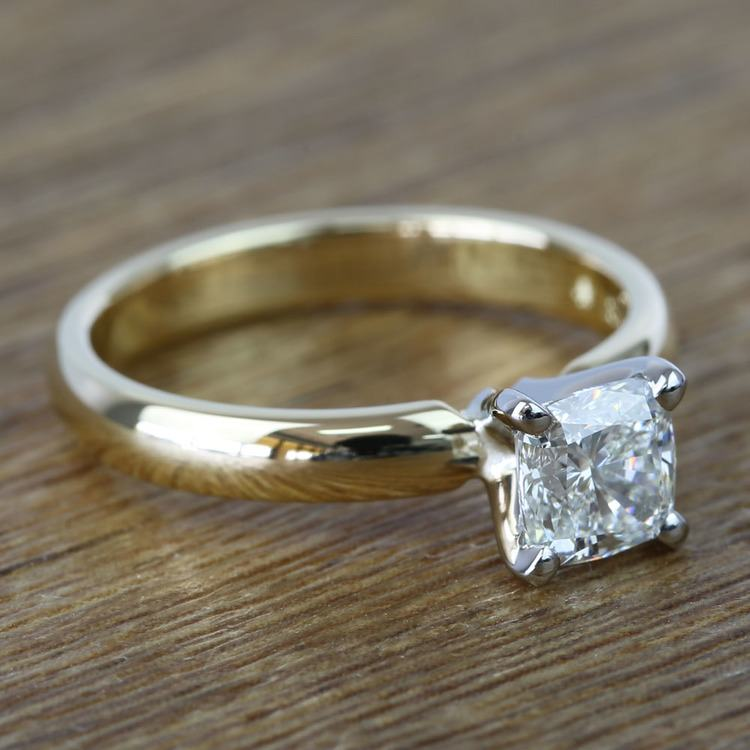 Flawless Cushion Solitaire Diamond Engagement Ring (1 Carat) angle 3