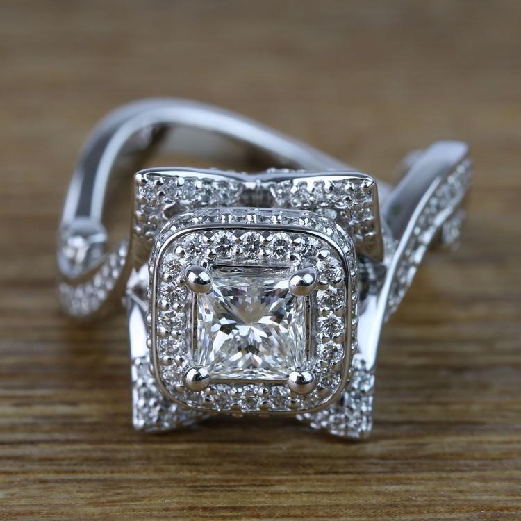 Custom 0.75 Carat Princess Diamond Engagement Ring