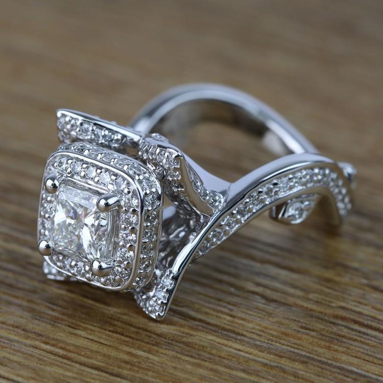 Custom 0.75 Carat Princess Diamond Engagement Ring  angle 2