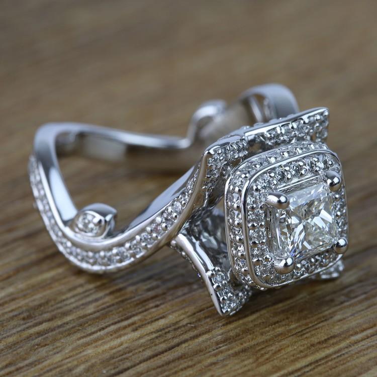 Custom 0.75 Carat Princess Diamond Engagement Ring  angle 3