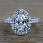 Custom 1.03 Carat Oval Petite Halo Diamond Engagement Ring - small