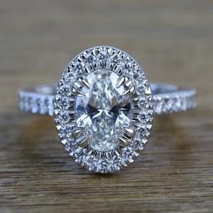 Custom 1.03 Carat Oval Petite Halo Diamond Engagement Ring