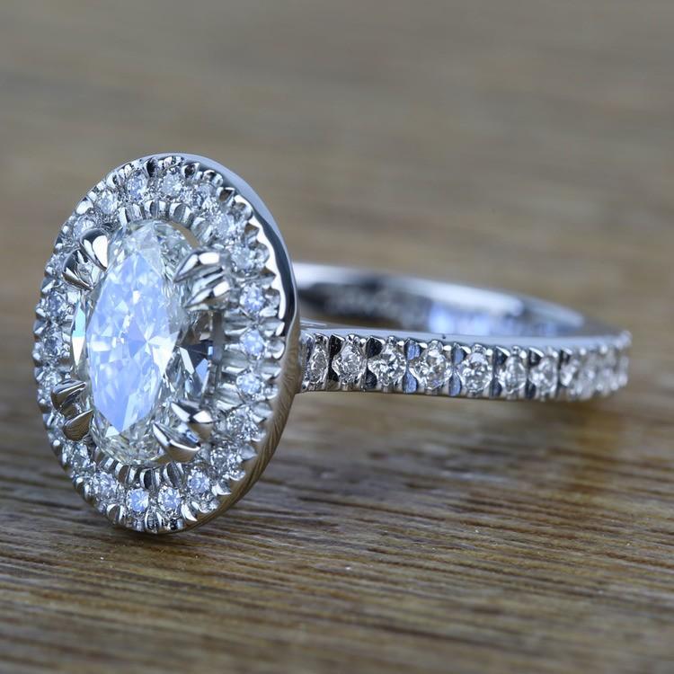 Custom 1.03 Carat Oval Petite Halo Diamond Engagement Ring angle 2