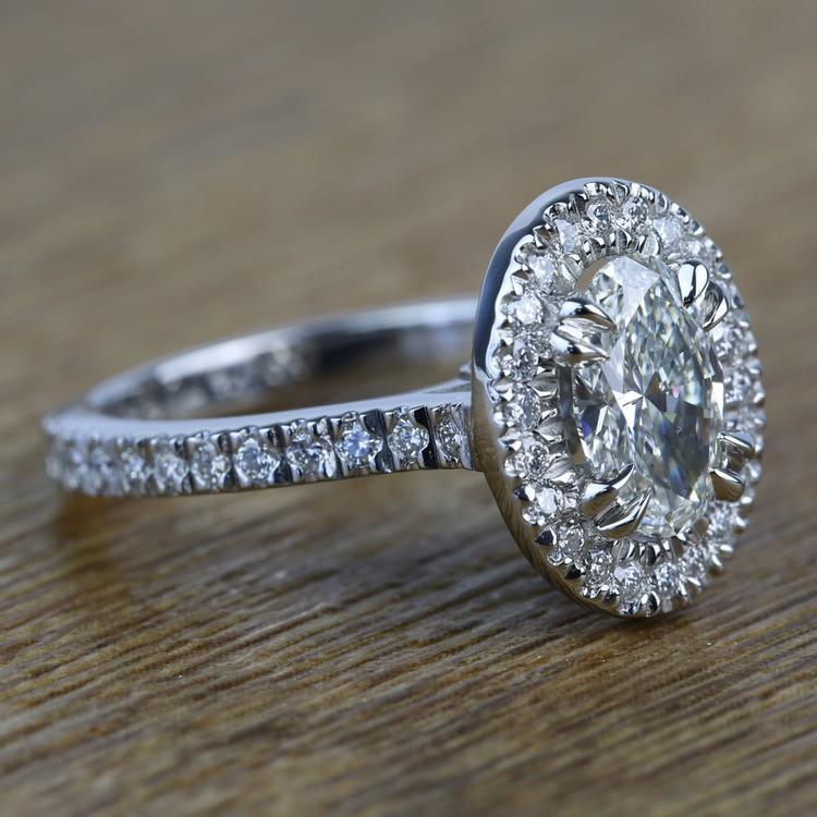 Custom 1.03 Carat Oval Petite Halo Diamond Engagement Ring angle 3