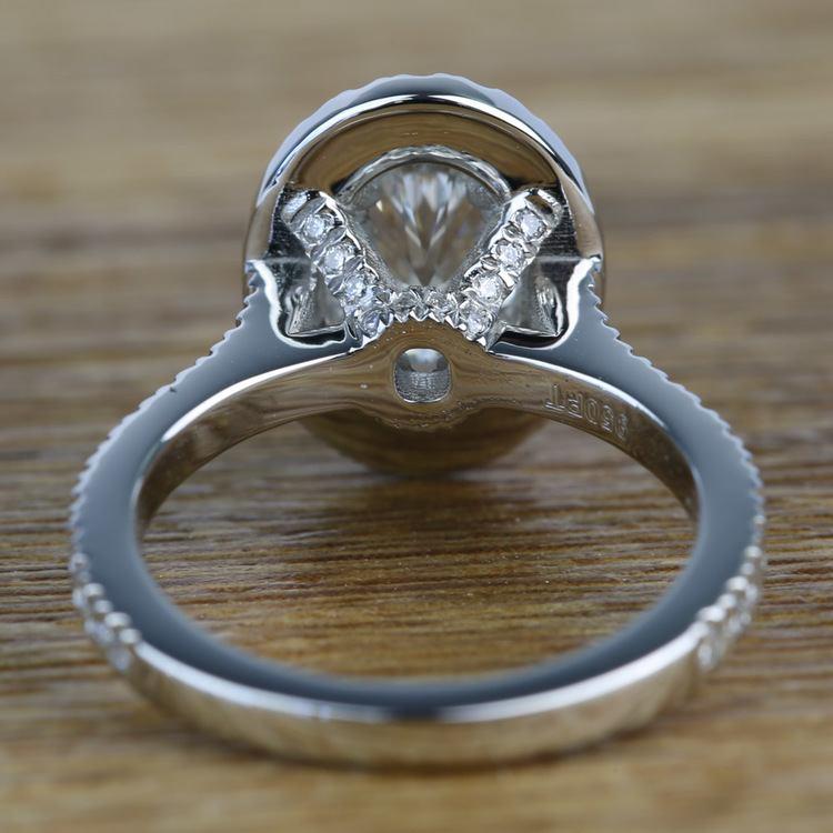Custom 1.03 Carat Oval Petite Halo Diamond Engagement Ring angle 4