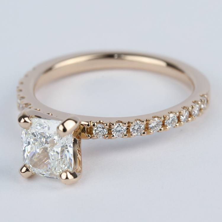 Cushion Pave Diamond Engagement Ring in 18K Rose Gold angle 2