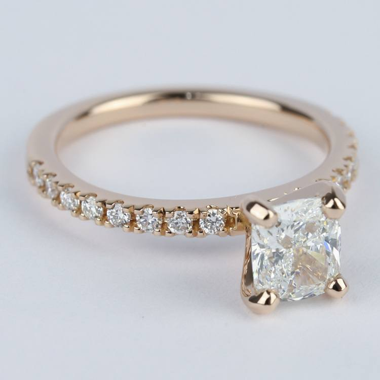 Cushion Pave Diamond Engagement Ring in 18K Rose Gold angle 3