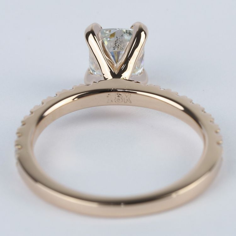 Cushion Pave Diamond Engagement Ring in 18K Rose Gold angle 4