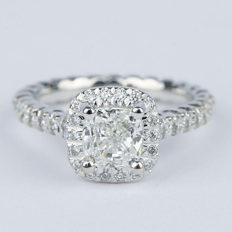Twisted Rope Cushion Diamond Halo Engagement Ring 1 20 Carat