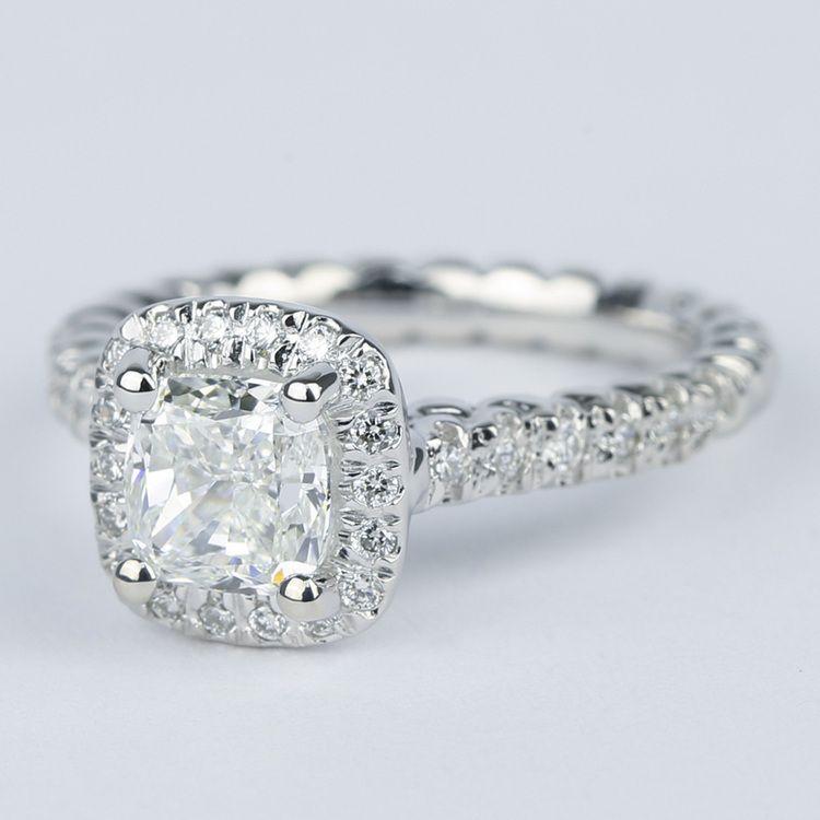 Twisted-Rope Cushion Diamond Halo Engagement Ring (1.20 Carat) angle 2
