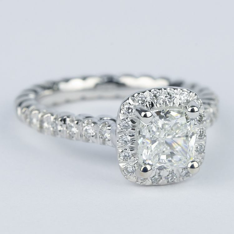 Twisted-Rope Cushion Diamond Halo Engagement Ring (1.20 Carat) angle 3