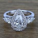 Custom 1.20 Carat Pear Halo Diamond Engagement Ring - small