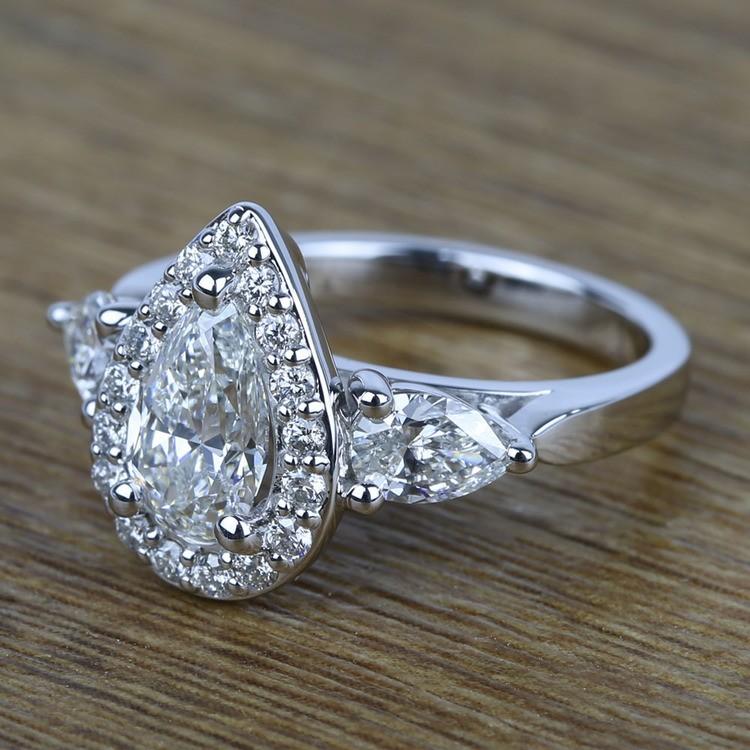 Custom 1.20 Carat Pear Halo Diamond Engagement Ring angle 2