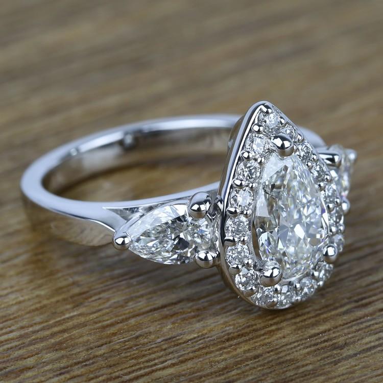 Custom 1.20 Carat Pear Halo Diamond Engagement Ring angle 3