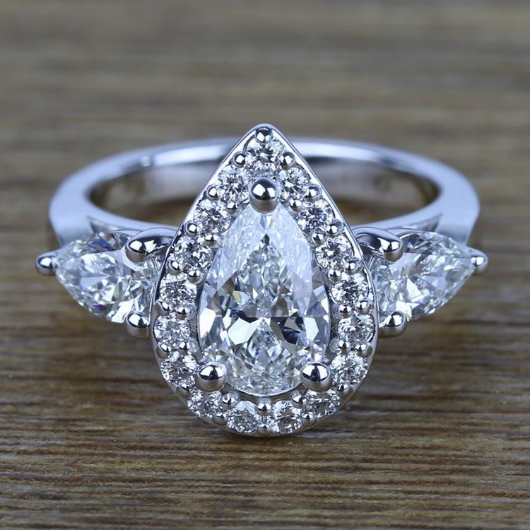 Custom 1.20 Carat Pear Halo Diamond Engagement Ring