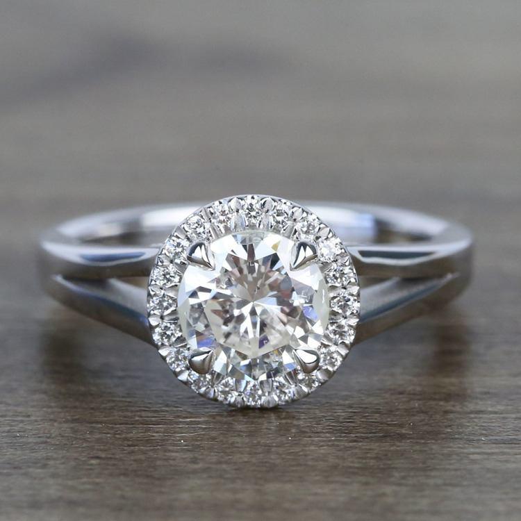 Custom 1.25 Carat Round Halo Diamond Engagement Ring