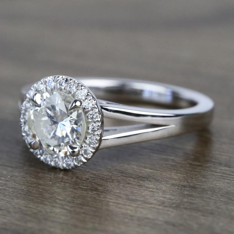 Custom 1.25 Carat Round Halo Diamond Engagement Ring angle 2