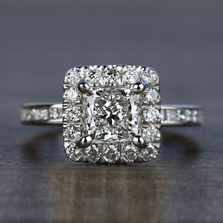 Custom 1.30 Carat Princess Halo Diamond Engagement Ring