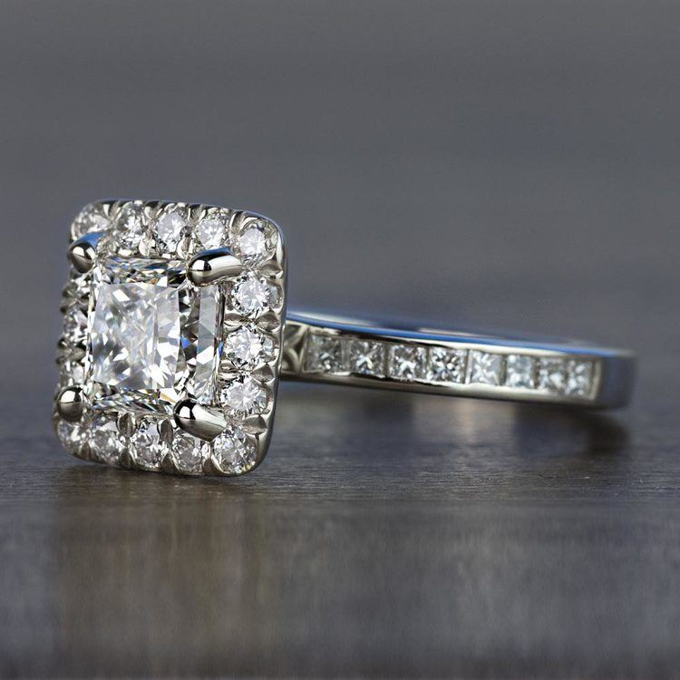 Custom 1.30 Carat Princess Halo Diamond Engagement Ring angle 2