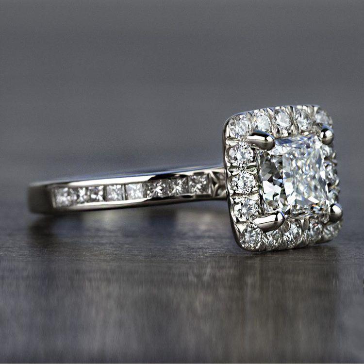Custom 1.30 Carat Princess Halo Diamond Engagement Ring angle 3
