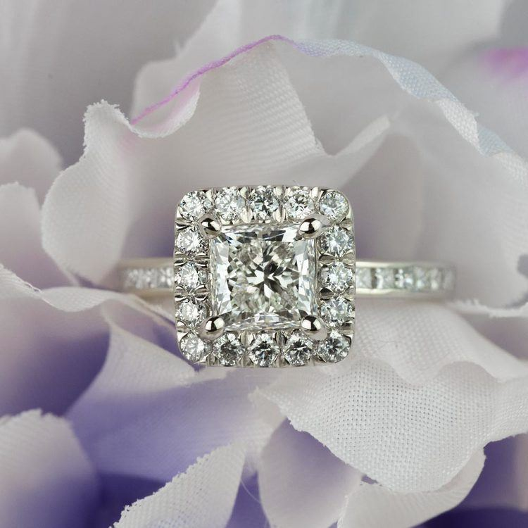 Custom 1.30 Carat Princess Halo Diamond Engagement Ring angle 5