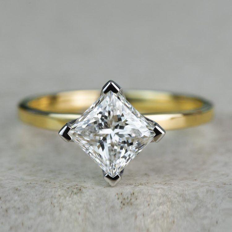 Custom 1.32 Carat Kite Princess Flat Solitaire Diamond Engagement Ring