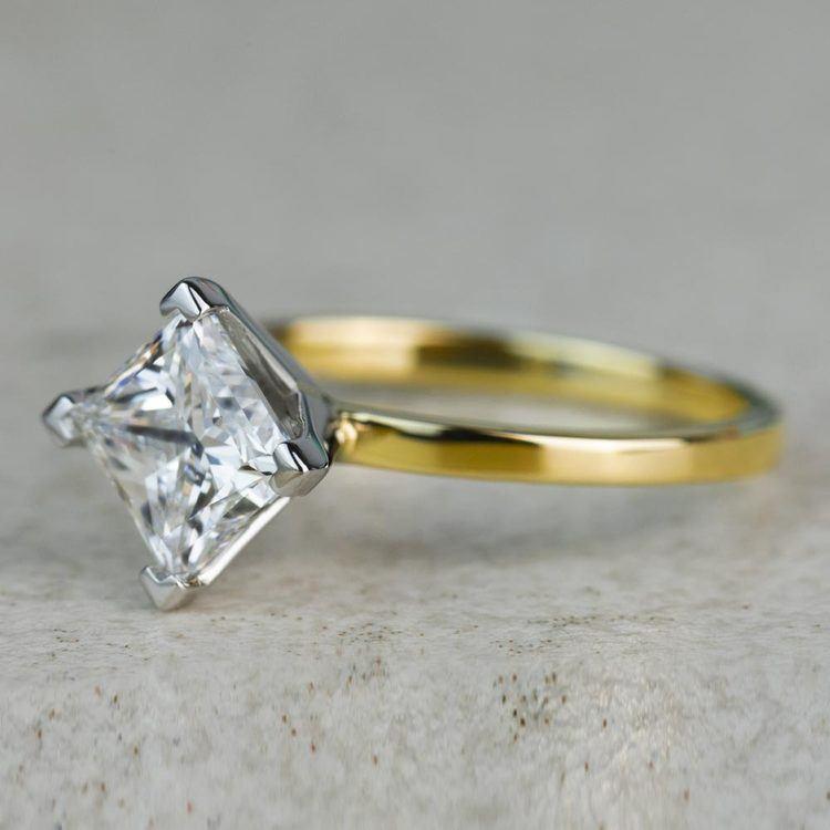 Custom 1.32 Carat Kite Princess Flat Solitaire Diamond Engagement Ring angle 2