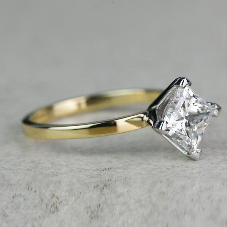 Custom 1.32 Carat Kite Princess Flat Solitaire Diamond Engagement Ring angle 3