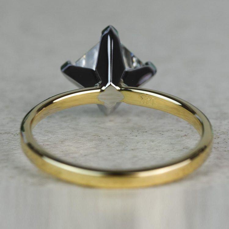 Custom 1.32 Carat Kite Princess Flat Solitaire Diamond Engagement Ring angle 4