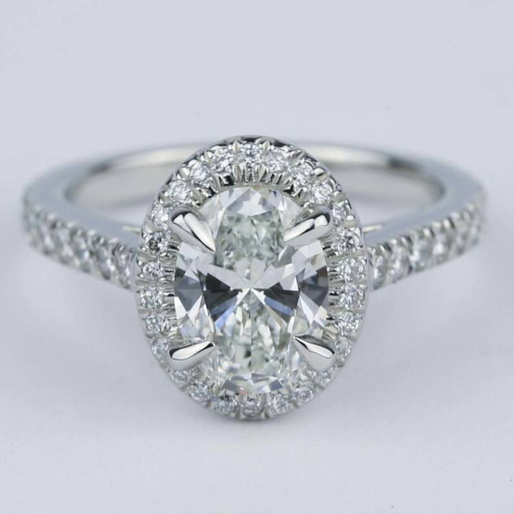 micro pave halo engagement ring with oval 1 32 ct