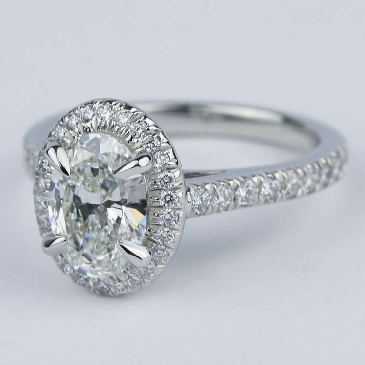 Micro-Pave Halo Engagement Ring with Oval Diamond (1.32 ct.) angle 2