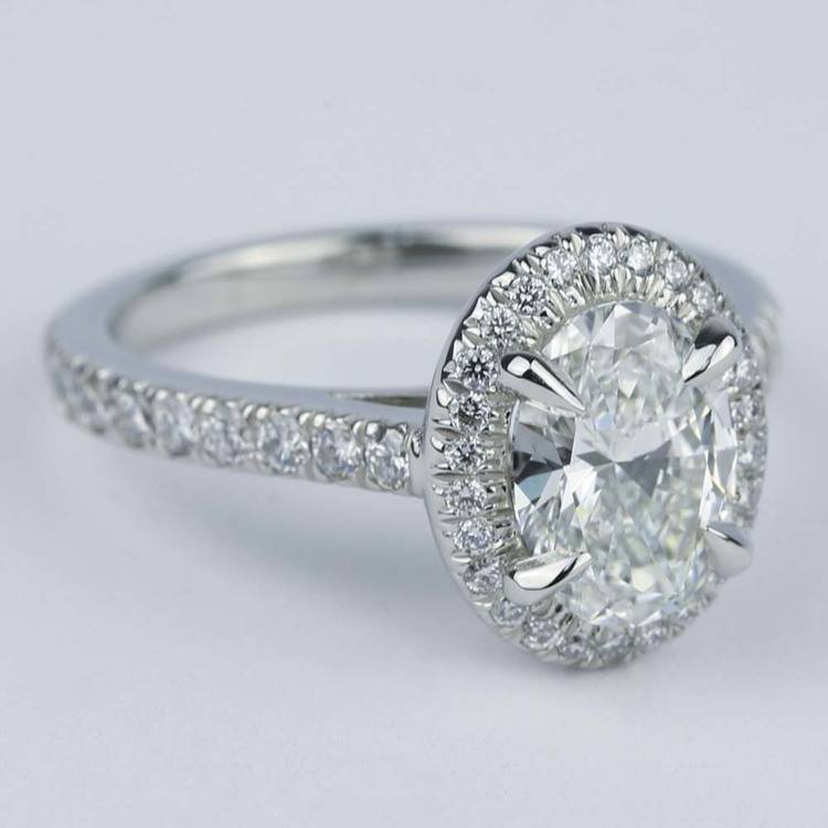 Micro-Pave Halo Engagement Ring with Oval Diamond (1.32 ct.) angle 3