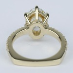 Custom Pave Oval Diamond Engagement Ring in Yellow Gold - small angle 4
