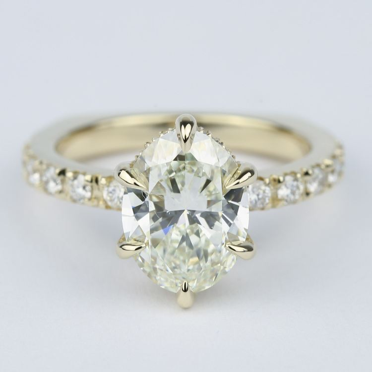 Custom Pave Oval Diamond Engagement Ring in Yellow Gold