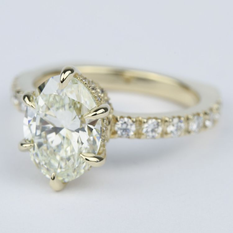 Custom Pave Oval Diamond Engagement Ring in Yellow Gold angle 2