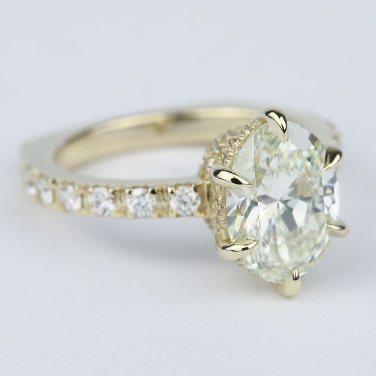 Custom Pave Oval Diamond Engagement Ring in Yellow Gold angle 3