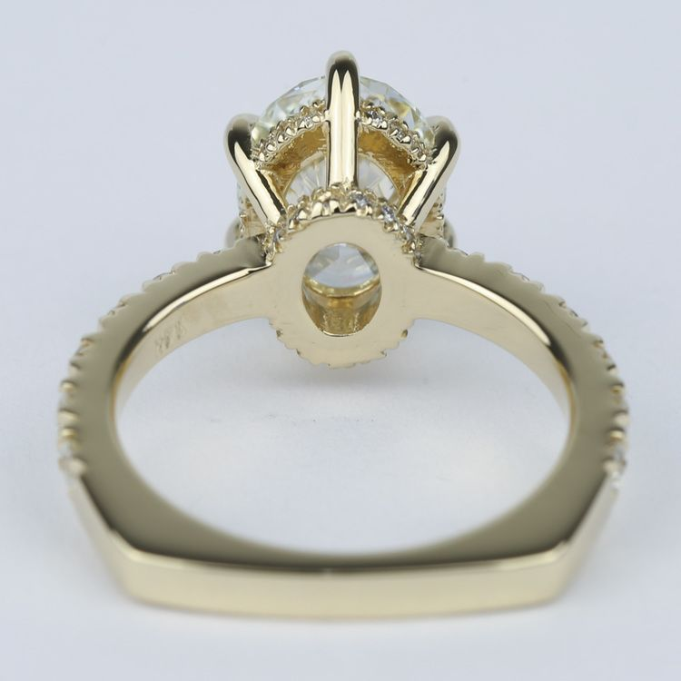 Custom Pave Oval Diamond Engagement Ring in Yellow Gold angle 4