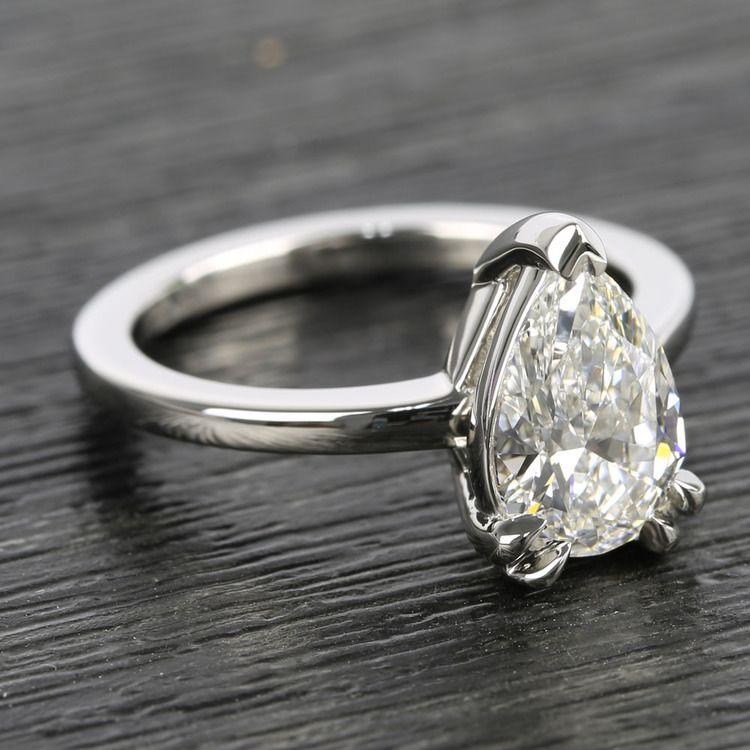 Custom 1.51 Carat Pear Diamond Engagement Ring angle 3