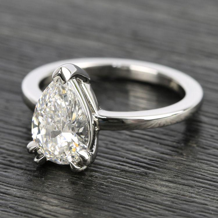 Custom 1.51 Carat Pear Diamond Engagement Ring angle 2