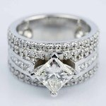 Custom 1.51 Carat Princess Engagement Ring in White Gold  - small