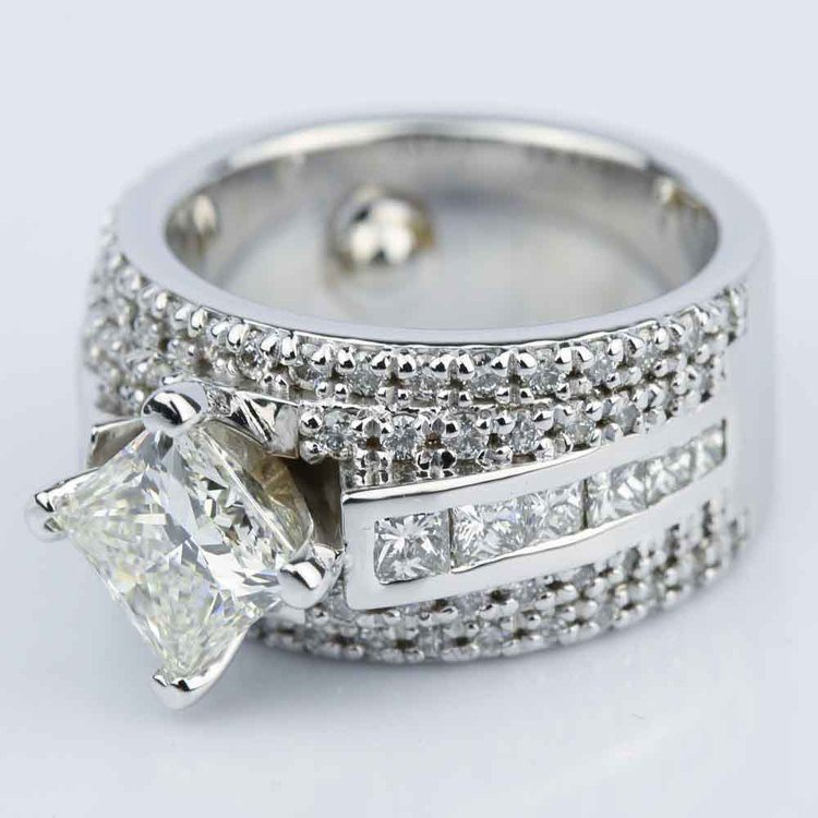 Custom 1.51 Carat Princess Engagement Ring in White Gold  angle 2