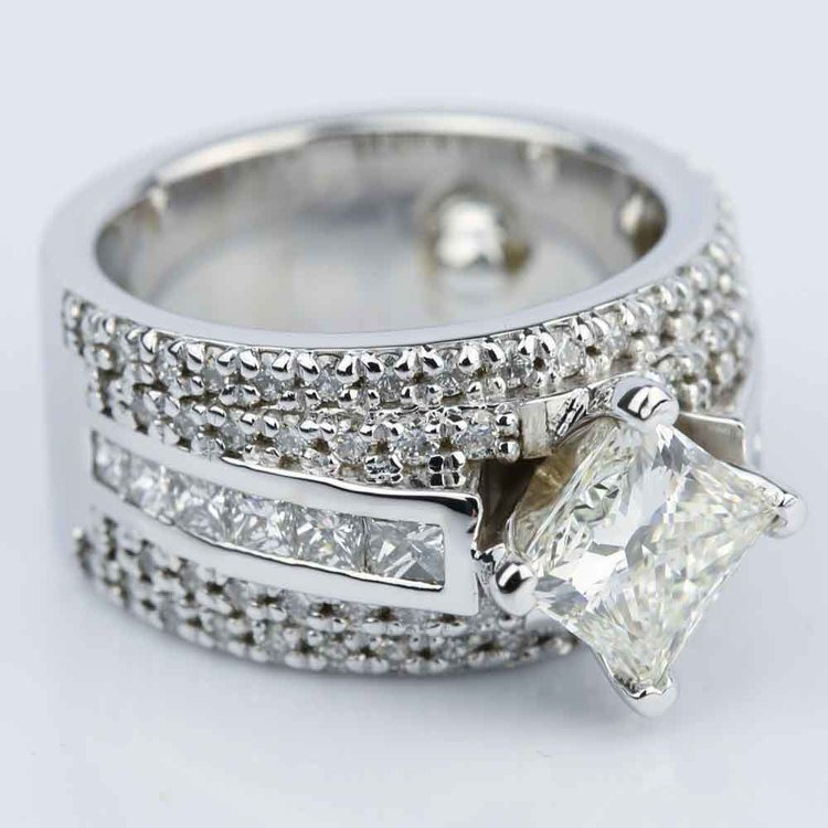Custom 1.51 Carat Princess Engagement Ring in White Gold  angle 3