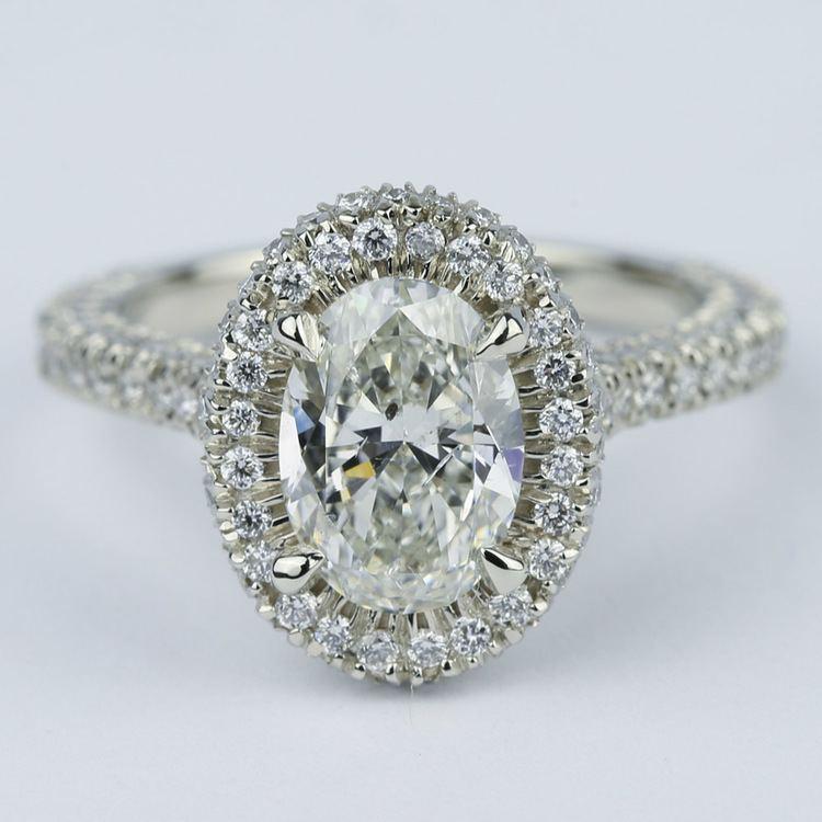 Custom Three-Sided Pave Halo Oval Diamond Engagement Ring