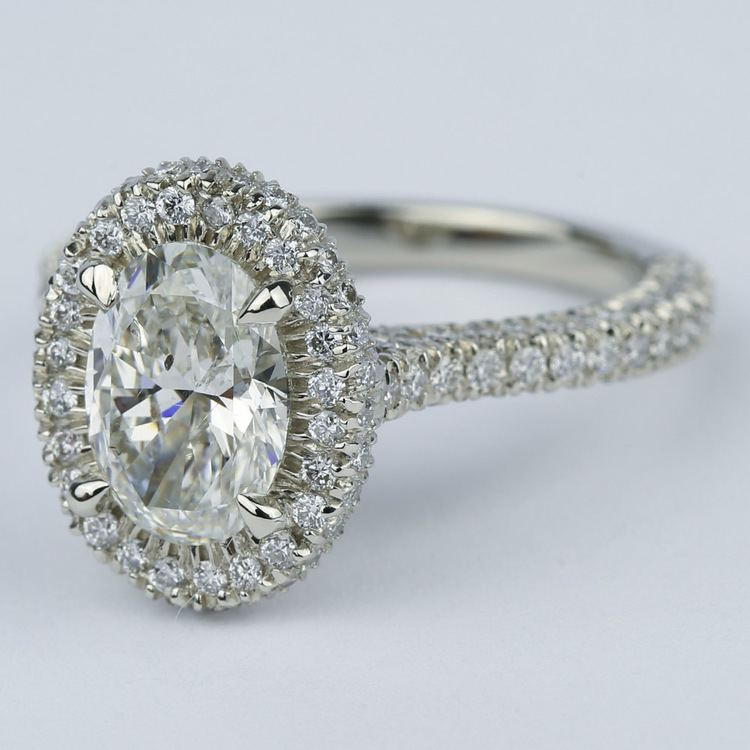 custom three sided pave halo oval engagement ring