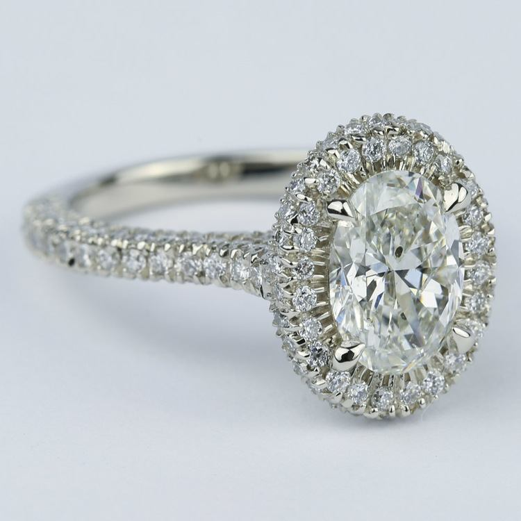 Custom Three Sided Pave Halo Oval Diamond Engagement Ring