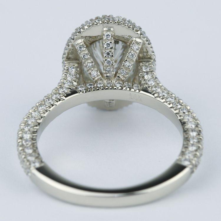 Custom Three-Sided Pave Halo Oval Diamond Engagement Ring angle 4